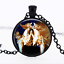 Kissing Girlie Birds Black Glass Cabochon Necklace chain Pendant Wholesale