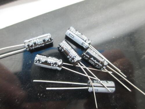 100pcs RUBYCON YXF 1mfd 100V 1UF electrolytic Capacitor 105℃ 5X11mm