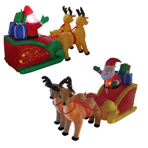 7-ft-Inflatable-Airblown-Santa-Sleigh-Reindeer-Warm-LED-Lights-Christmas-Decor