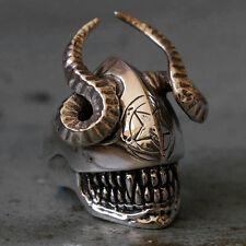 Biker Ring Skull sterling silver Satan Baphomet Pentagram Goat alien Satanic men