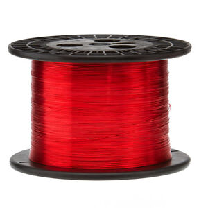 """22 AWG Gauge Enameled Copper Magnet Wire 5.0 lbs 2535' Length 0.0263"""" 155C Red"""
