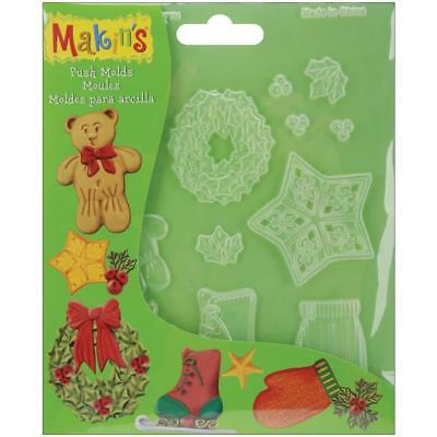 MAKIN'S Clay Push Mold Polymer Air Dry CHRISTMAS HOLIDAY Embellishments