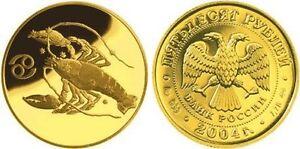 50 Rubles Russia 1/4 oz Gold 2004 Zodiac / Cancer Krebs 癌症 Unc
