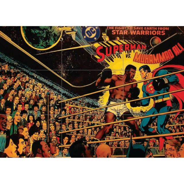 24X36Inch Art Superman vs Muhammad Ali 1978 Vintage Poster Wall Decor 6577