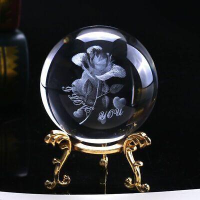 Laser Engraved Crystal Rose Ball 3D Mini Flower Sphere Glass Globe Home Decor