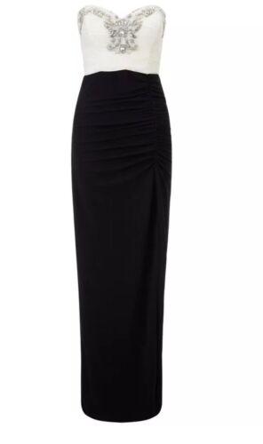 BNWT New LIPSY VIP White Black Diamante Ruche Bustier Maxi Dress 6 10 or 18 £160