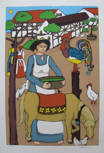 "ELKE SOMMER /""Floating Donkey/"" Hand Signed Limited Edition Serigraph Folk Art"