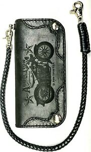 left-hand-Leather-biker-trucker-motorcycle-Chain-Wallet-Black-Night-Horse