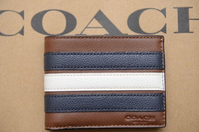 Coach Men's Varsity Stripe Leather Saddle/Navy Slim Billfold Wallet F26171