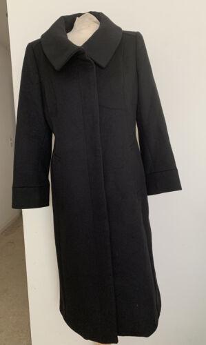 Cole Haan Womens Wool Cashmere Coat Black Sz 10