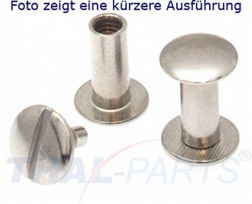 10er Pack Buchschrauben Chicagoschrauben 70mm Kopf 10mm Silbern