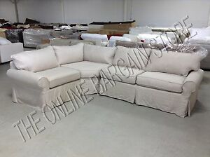 Pottery Barn Pb Basic Sectional Sofa Slipcover Flax