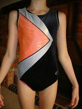 "THE ZONE 32"" Gymnastics Leotard AGE 11-12 CRUSHED VELVET BLACK ORANGE"