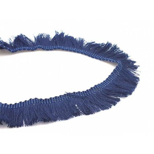 Neuf 1m Galon à franges 25mm couleur bleu foncé