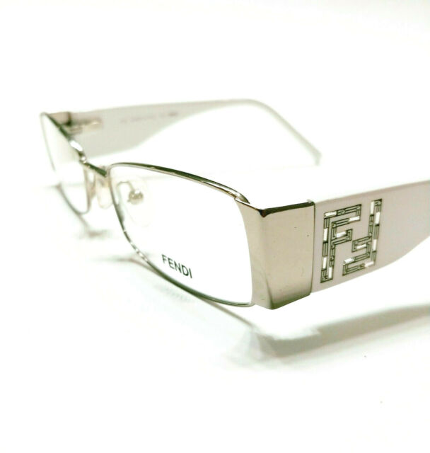 New Fendi Eyeglasses 923 Silver white 028 Authentic 50-18-135 w/case