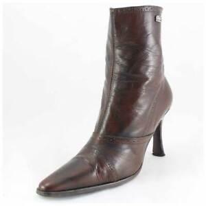 Buffalo Stiefeletten Gr. 40 Lederstiefel High Heels Boots braun (#2395)
