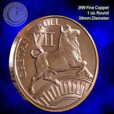 "/""Cretan Bull/"" 1oz999 Copper Round 12 Labors of Hercules 12 Round Series #7"