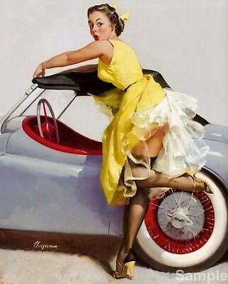 Vintage Pin Up Girl Next To Sports Car Elvgren Poster Art Print A3 A4