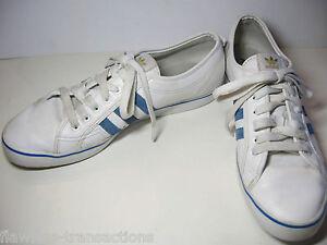 Détails sur ADIDAS Nizza Low CL Originals Blanc Bleu Basketball Baskets Chaussures Taille Homme 13 afficher le titre d'origine