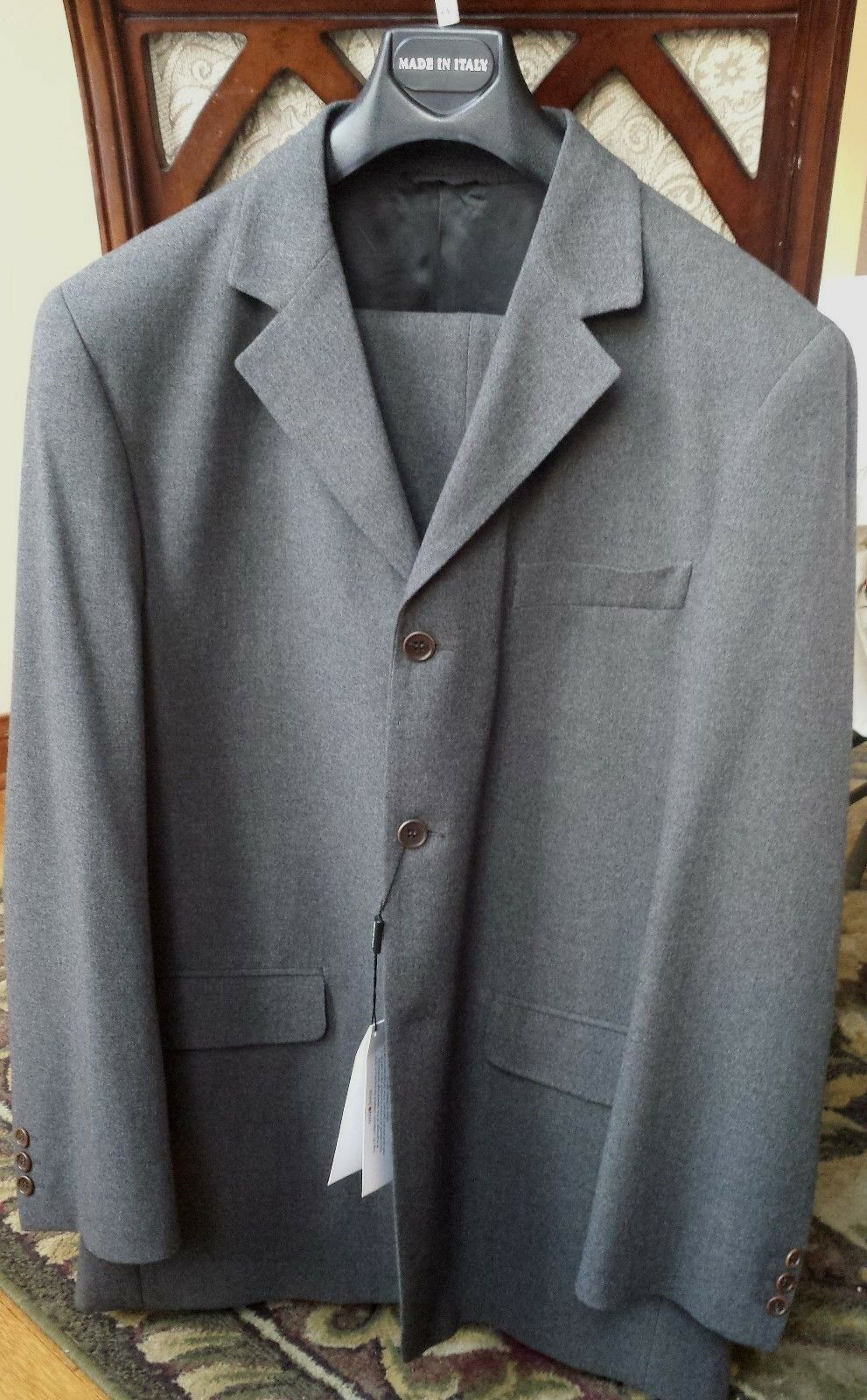 IVANO BIAGI  Herren 3 BUTTON grau CHARCOAL SUIT US SIZE 42R MADE IN ITALY MSRP 499