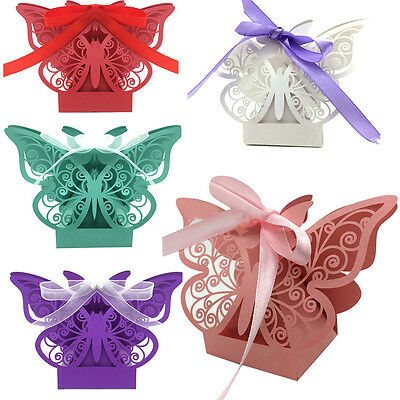 Party Favor 10Pcs Paper Candy Gift Boxes Wedding Butterfly Ribbon