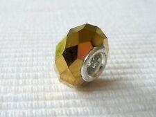 European Bead FACETT Perle Element Spacer Glas Metall gold 14 mm 1384