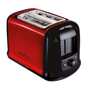 Moulinex-LT261D-Metallicrot-Schwarz-Toaster-Aufknusperfunktion-850-Watt