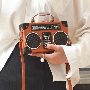 Radio-Retro-Di-Stile-Borsa-a-Tracolla-Donna-Catena-Borsa-delle-Donne-Crossbody