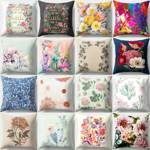 Image Is Loading Flower Print Throw Pillow Case Sofa Bed Home