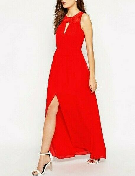 BCBGeneration Lace Maxi Red Prom Drape Wedding Party Dress US 2