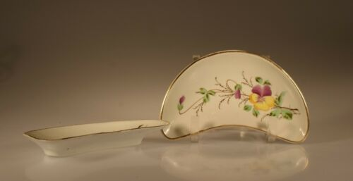 Pair of Antique Bone Dishes with Pansies, Unknown Maker, England