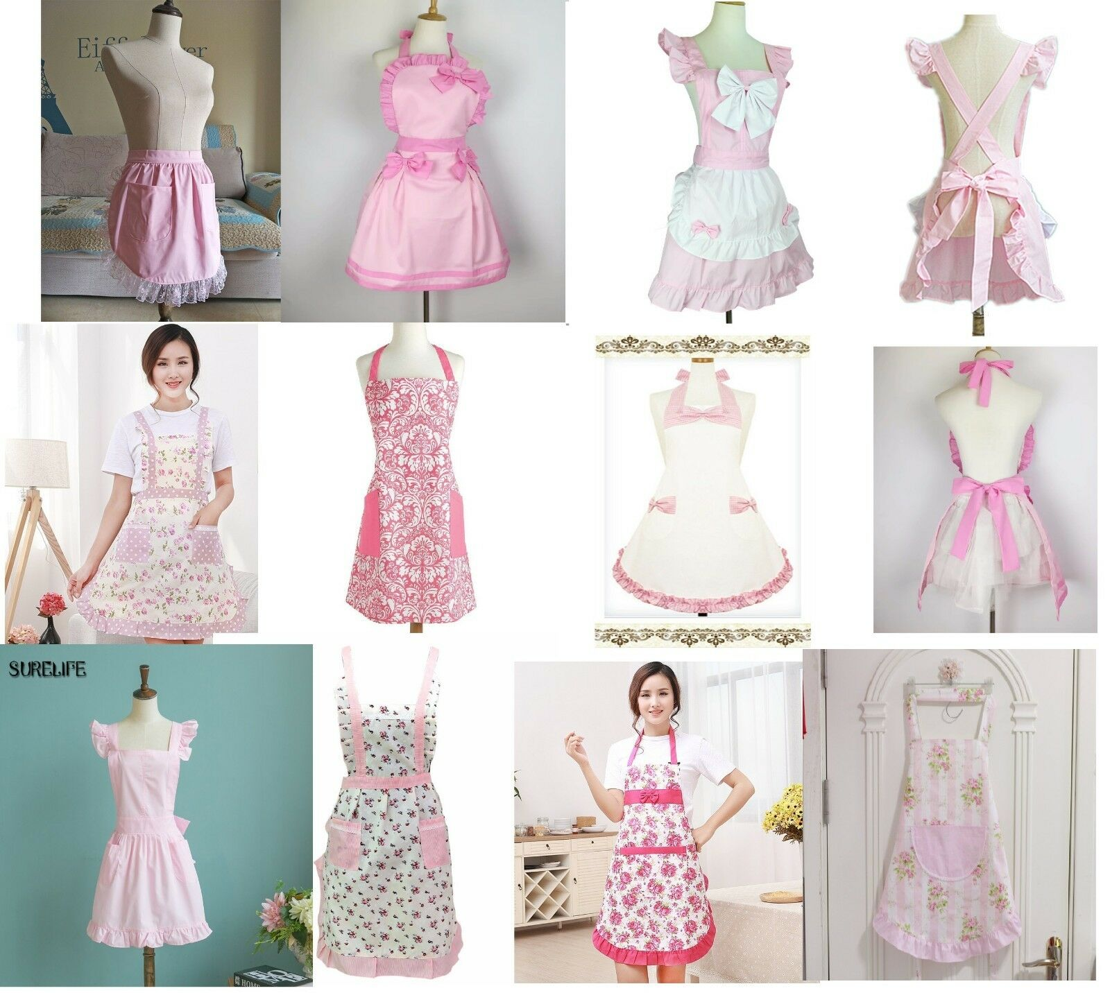 Pink Roses Shabby Chic Retro With Pocket Half Apron Pinny 50s Girls Victorian