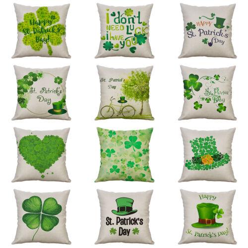 St Patrick/'s Day Coton Lin Housse De Coussin Throw Taie d/'oreiller canapé Home Decor