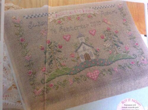O Wedding Memories Keepsake Box église coeurs fleurs cross stitch chart