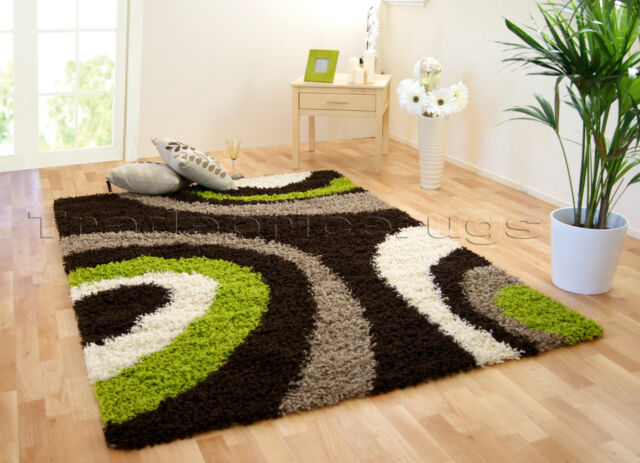 SMALL EXTRA LARGE CHOCOLATE BROWN GREEN THICK SOFT RUG MODERN SHAGGY RUGS