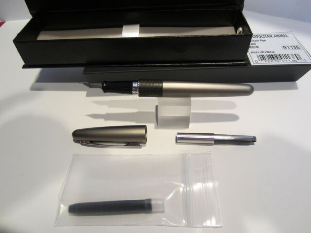 Pilot Metropolitan Fountain Pen-SILVER LIZARD FINE-FREE Cartridge+Converter NEW