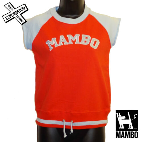"""MAMBO /""""Coco Jane /'Da Donna Senza Maniche Sudore Camicia Rosso Bianco UK 8 12 BNWT RRP £ 38"""