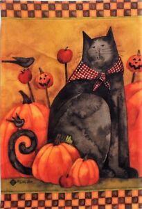 "Folk Cat Primitive House Flag by Toland #29259, 28"" x 40"", Halloween"
