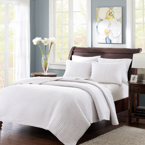 BEAUTIFUL SOFT CLASSIC WHITE MODERN ELEGANT TEXTURED SOFT QUILT SET NEW!