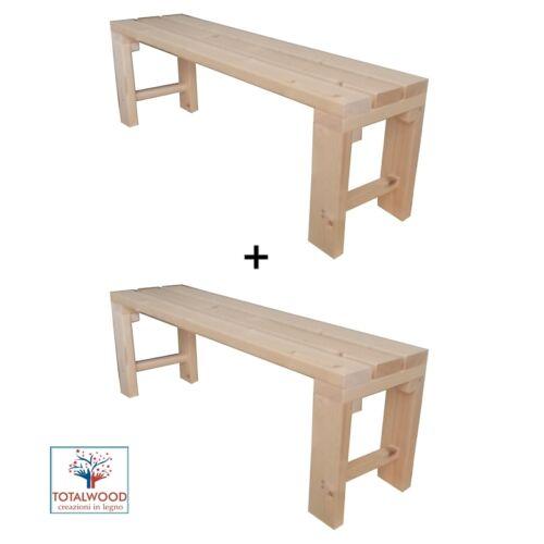 2x Panca Panchina in legno al naturale o 7 colori 150x38.5x50 cm ANCHE SU MISURA
