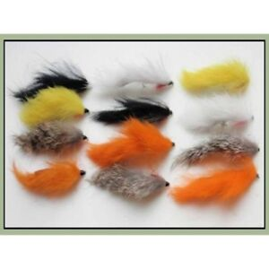 Mixed Size 8//10 Zonker Trout Flies 12 Pack Gold Head Red /& Orange Zonkers