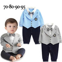 Infant Baby Boy Gentleman Romper Jumpsuit Bodysuit Playsuit Clothes Outfit UK