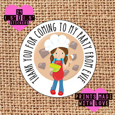 Personalised 24 baking cooking party bag stickers sweet cone labels thank you bs