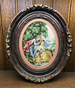 Antique Victorian Needlepoint Picture Carved Wood Walnut Oval Ornate Frame  (A)