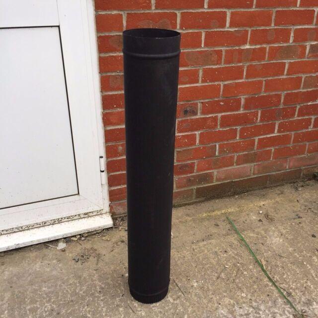 "1000mm, 1m of 125mm 5"" flue pipe, stove pipe, matt black"