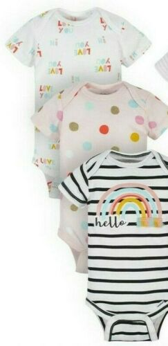 Gerber Baby Girl/'s 3 Pack Organic Short Sleeve Onesies Size 6-9 Months Rainbow