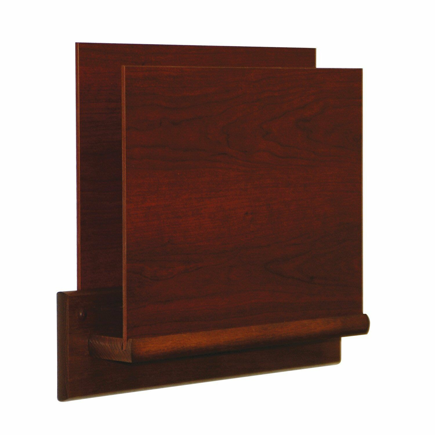 Wooden Mallet Single Open End Letter Size File Holder in Mahogany Square Mount
