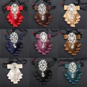 Retro-Men-Rhinestone-Necktie-Satin-Ribbon-Bow-Tie-Adjustable-Wedding-Party
