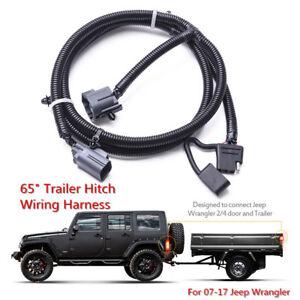 65 trailer tow hitch wiring harness kit 4 way for 07 17 jeep rh ebay com Silverado Trailer Wiring Harness Splice Silverado Trailer Wiring Harness Splice