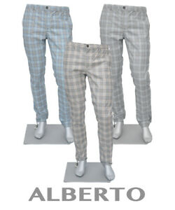 ALBERTO Somnmer Chinohose CHINO Hose slim fit ROB 1727 Gr.W31-W34 KARO RETRO